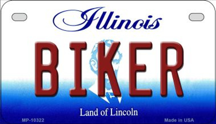 Biker Illinois Novelty Metal Motorcycle Plate MP-10322
