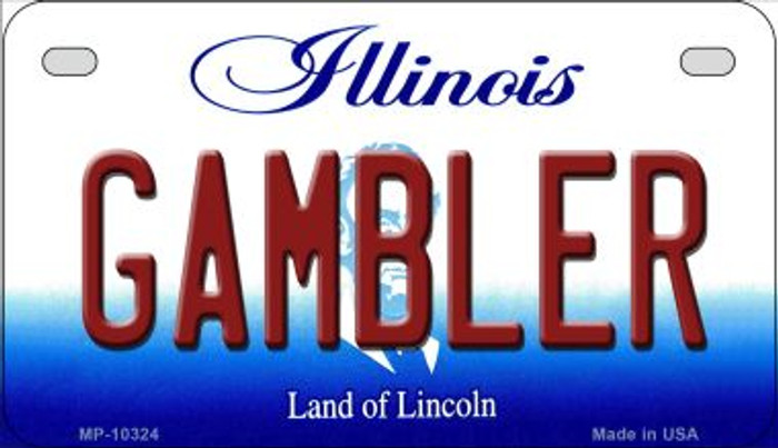 Gambler Illinois Novelty Metal Motorcycle Plate MP-10324