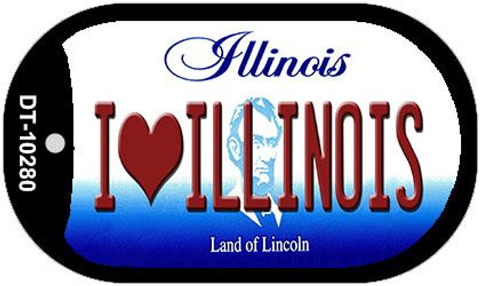I Love Illinois Novelty Metal Dog Tag Necklace DT-10280