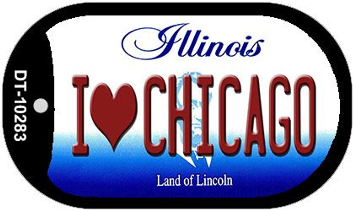 I Love Chicago Illinois Novelty Metal Dog Tag Necklace DT-10283