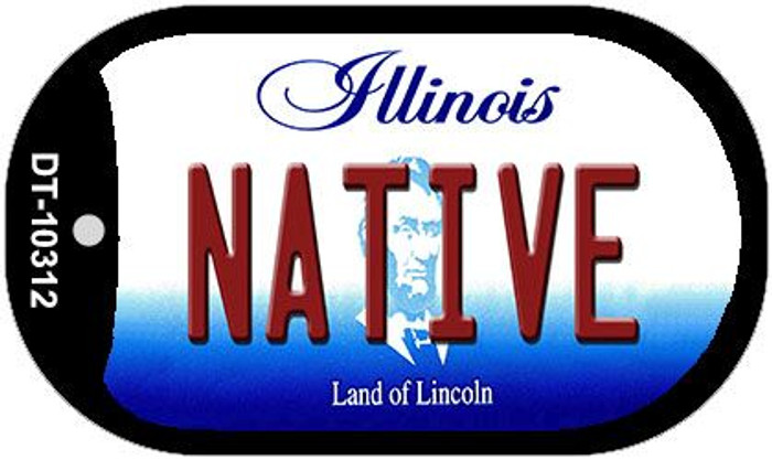 Native Illinois Novelty Metal Dog Tag Necklace DT-10312