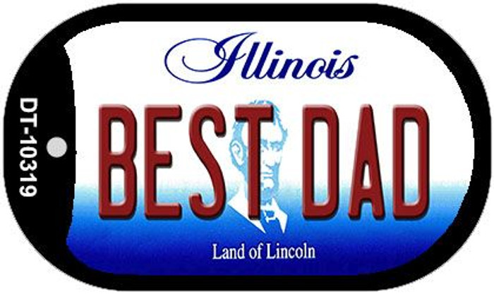 Best Dad Illinois Novelty Metal Dog Tag Necklace DT-10319