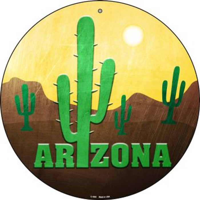 Arizona with Saguaro Novelty Metal Circular Sign C-1005