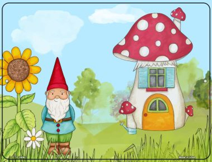 Gnome & Mushroom House Novelty Metal Parking Sign P-2496
