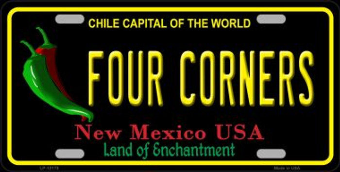 Four Corners New Mexico Black Novelty Metal License Plate LP-12178
