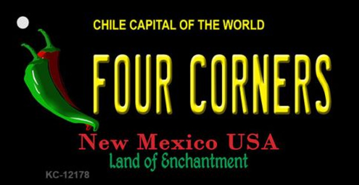 Four Corners New Mexico Black Novelty Metal Key Chain KC-12178