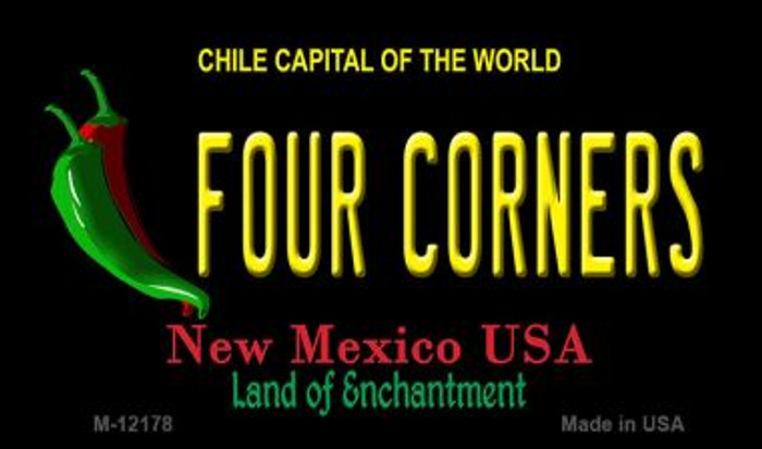 Four Corners New Mexico Black Novelty Metal Magnet M-12178