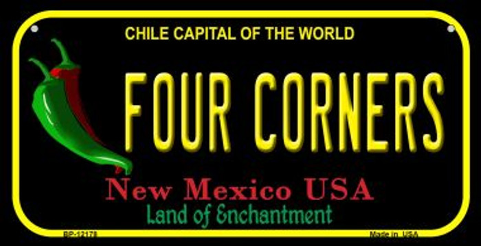 Four Corners New Mexico Black Novelty Metal Bicycle Plate BP-12178