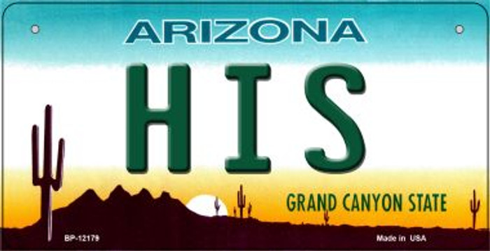 His Arizona Novelty Metal Bicycle Plate BP-12179