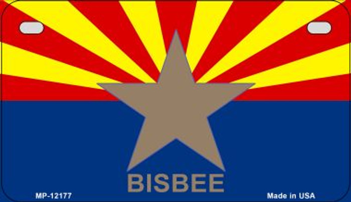 Bisbee Arizona Flag Novelty Metal Motorcycle Plate MP-12177