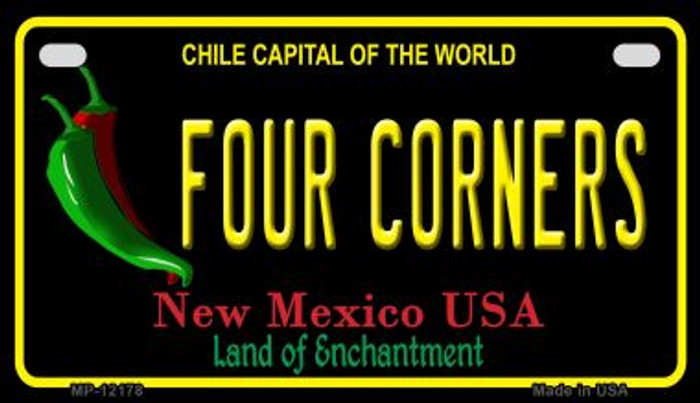 Four Corners New Mexico Black Novelty Metal Motorcycle Plate MP-12178