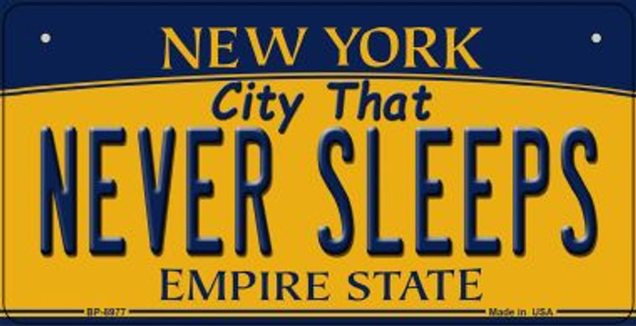 Never Sleeps New York Novelty Metal Bicycle Plate BP-8977