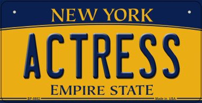 Actress New York Novelty Metal Bicycle Plate BP-8982