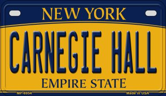Carnegie Hall New York Novelty Metal Motorcycle Plate MP-8954