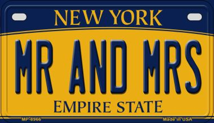 Mr and Mrs New York Novelty Metal Motorcycle Plate MP-8966