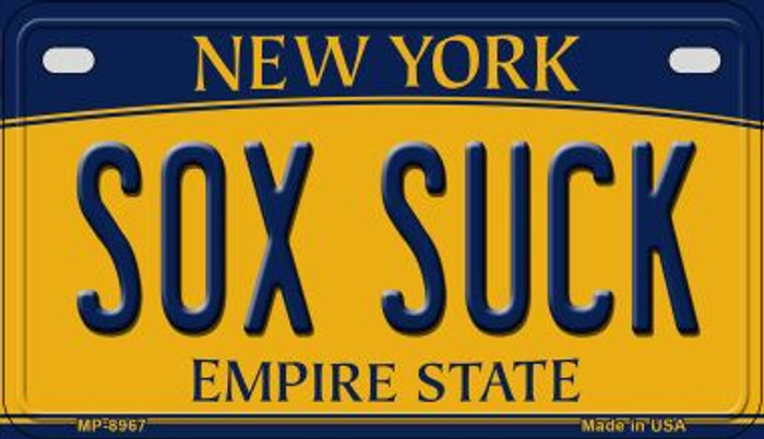 Sox Suck New York Novelty Metal Motorcycle Plate MP-8967