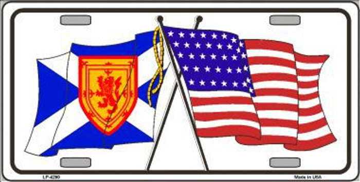 United States Scotland Crossed Flags Metal Novelty License Plate Sign LP-4290