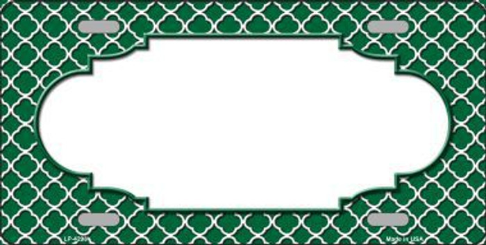 Green White Quatrefoil Center Scallop Metal Novelty License Plate LP-4298