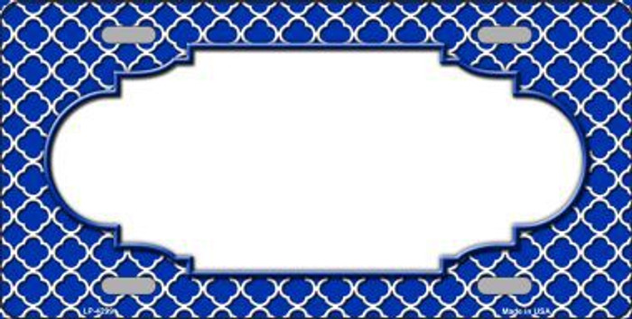 Blue White Quatrefoil Center Scallop Metal Novelty License Plate LP-4299