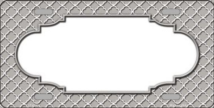 Grey White Quatrefoil Center Scallop Metal Novelty License Plate LP-4303