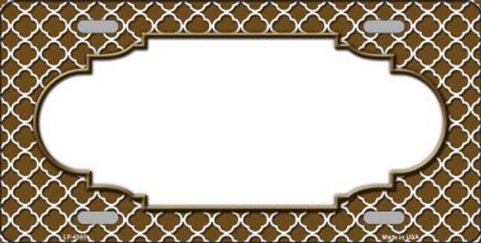 Brown White Quatrefoil Center Scallop Metal Novelty License Plate LP-4305