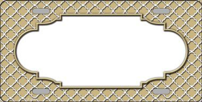 Gold White Quatrefoil Center Scallop Metal Novelty License Plate LP-4309