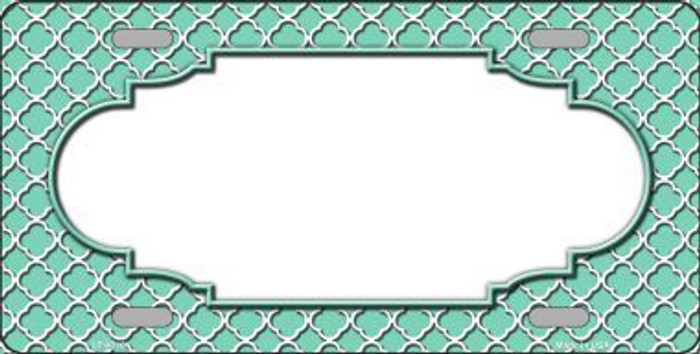 Mint White Quatrefoil Center Scallop Metal Novelty License Plate LP-4310