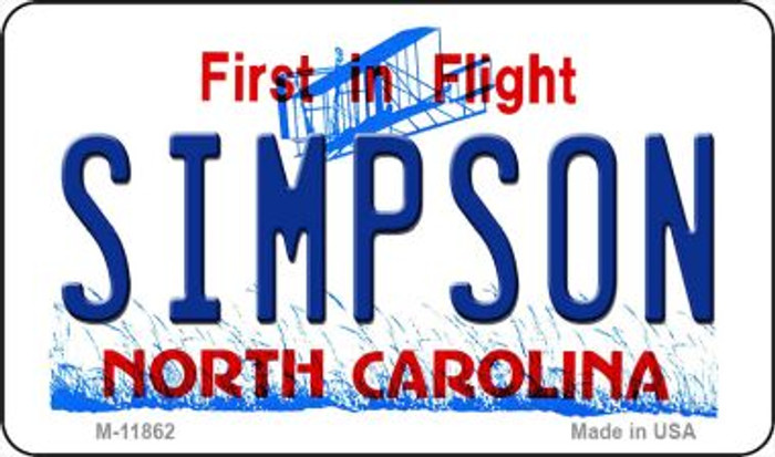 Simpson North Carolina Novelty Metal Magnet M-11862
