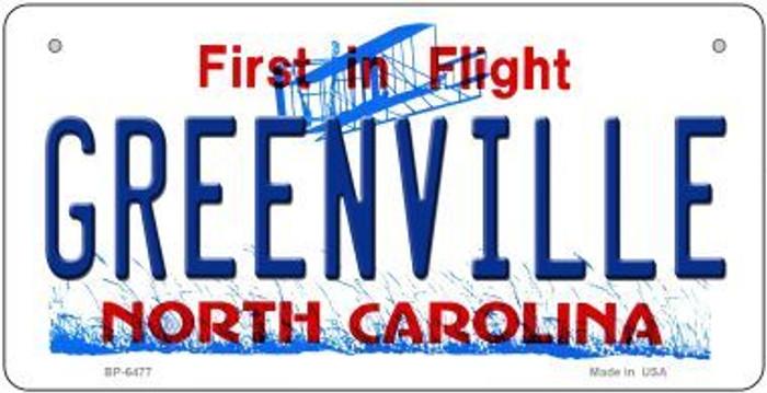 Greenville North Carolina Novelty Metal Bicycle Plate BP-6477