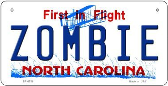 Zombie North Carolina Novelty Metal Bicycle Plate BP-6751