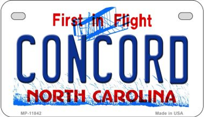 Concord North Carolina Novelty Metal Motorcycle Plate MP-11842