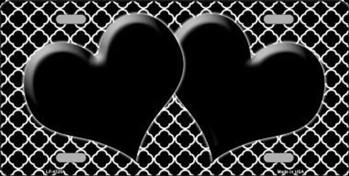 Black White Quatrefoil Black Center Hearts Metal Novelty License Plate LP-4326