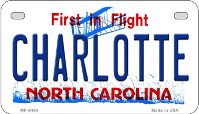 Charlotte North Carolina Novelty Metal Motorcycle Plate MP-6464