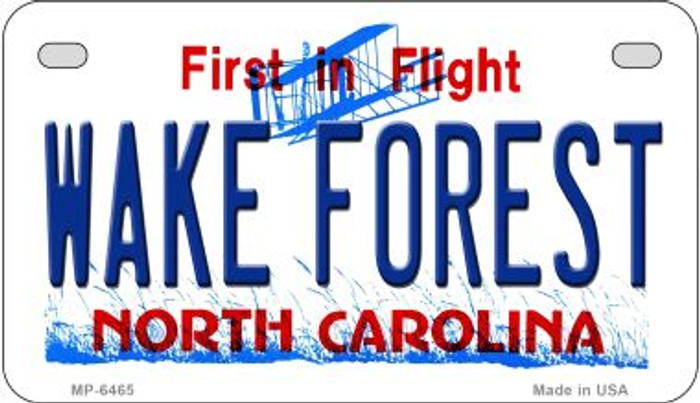 Wake Forest North Carolina Novelty Metal Motorcycle Plate MP-6465