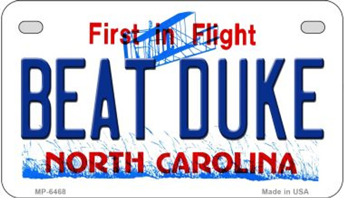 Beat Duke North Carolina Novelty Metal Motorcycle Plate MP-6468