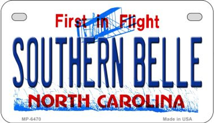 Southern Belle North Carolina Novelty Metal Motorcycle Plate MP-6470