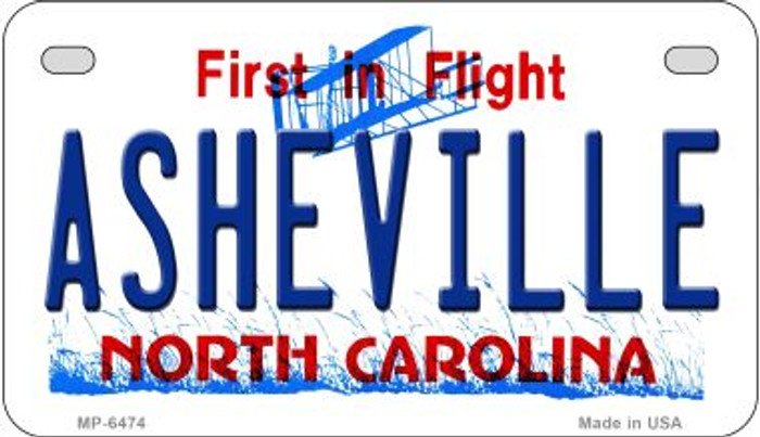 Asheville North Carolina Novelty Metal Motorcycle Plate MP-6474