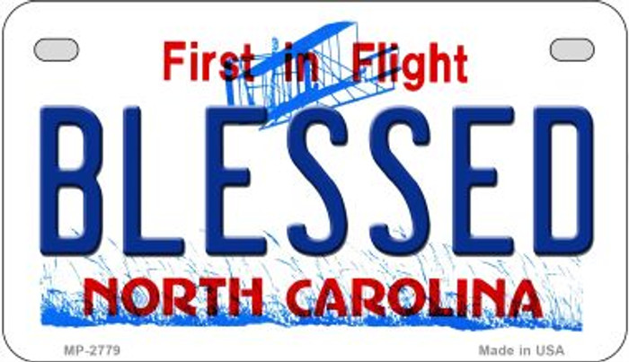 Blessed North Carolina Novelty Metal Motorcycle Plate MP-2779