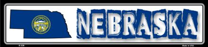 Nebraska State Outline Novelty Metal Vanity Small Street Sign