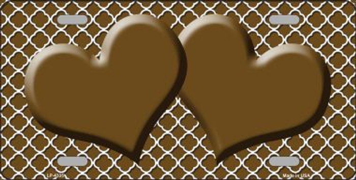 Brown White Quatrefoil Brown Center Hearts Metal Novelty License Plate LP-4335