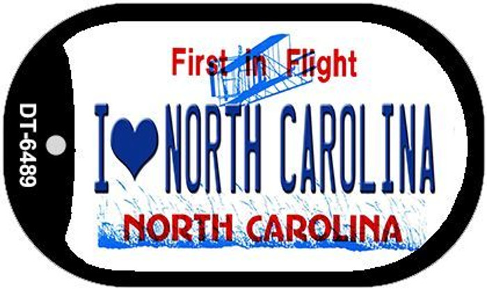 I Love North Carolina Novelty Metal Dog Tag Necklace DT-6489