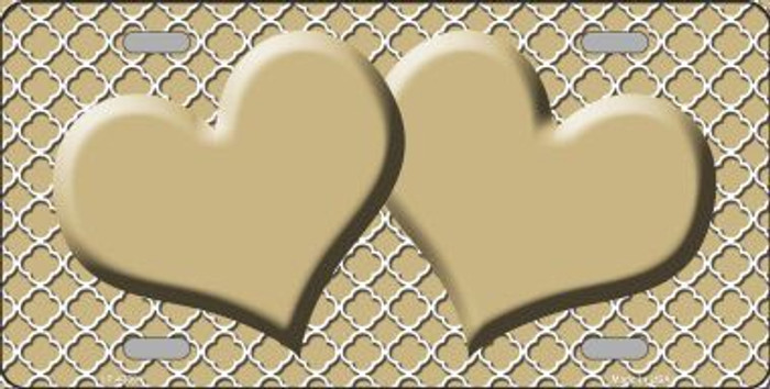 Gold White Quatrefoil Gold Center Hearts Metal Novelty License Plate LP-4339