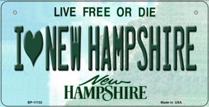 I Love New Hampshire Novelty Metal Bicycle Plate BP-11132
