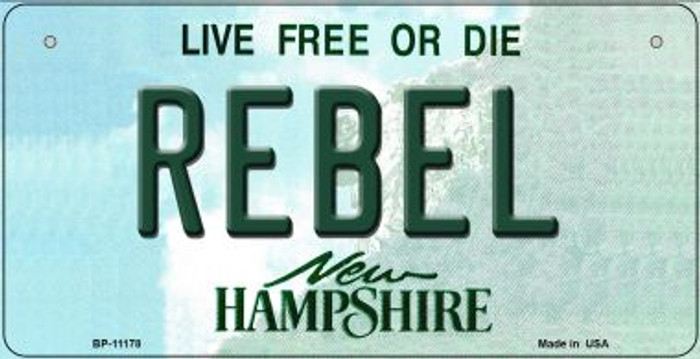 Rebel New Hampshire Novelty Metal Bicycle Plate BP-11178