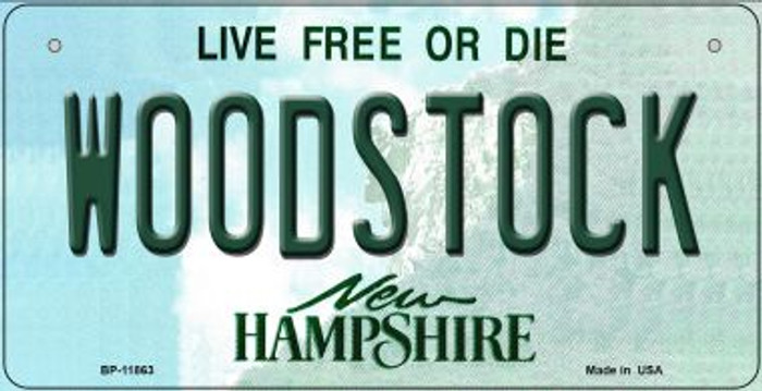 Woodstock New Hampshire Novelty Metal Bicycle Plate BP-11863