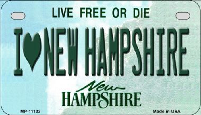 I Love New Hampshire Novelty Metal Motorcycle Plate MP-11132