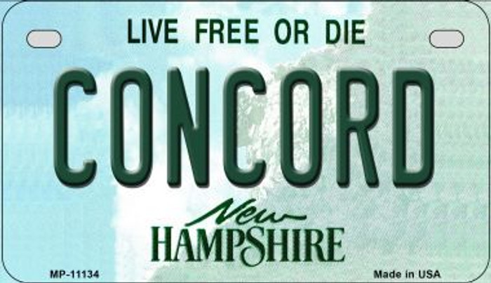 Concord New Hampshire Novelty Metal Motorcycle Plate MP-11134