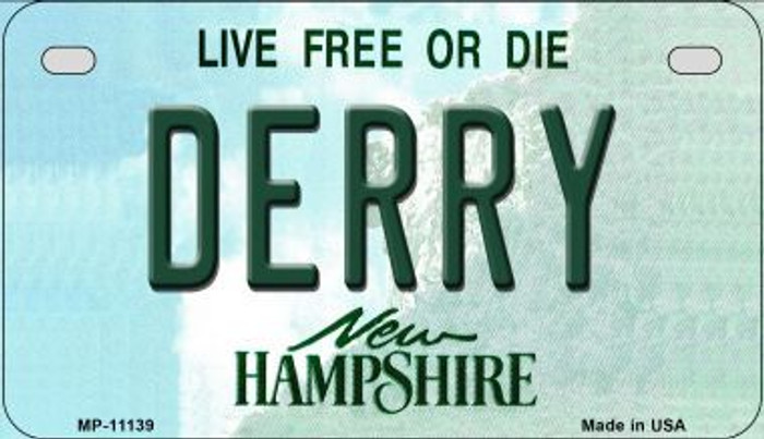 Derry New Hampshire Novelty Metal Motorcycle Plate MP-11139