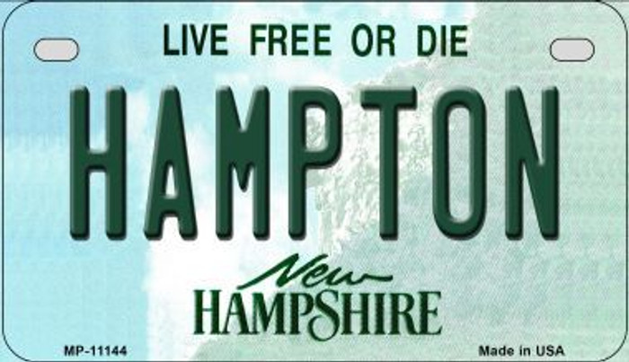 Hampton New Hampshire Novelty Metal Motorcycle Plate MP-11144