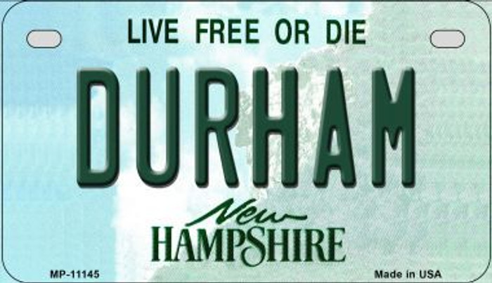 Durham New Hampshire Novelty Metal Motorcycle Plate MP-11145
